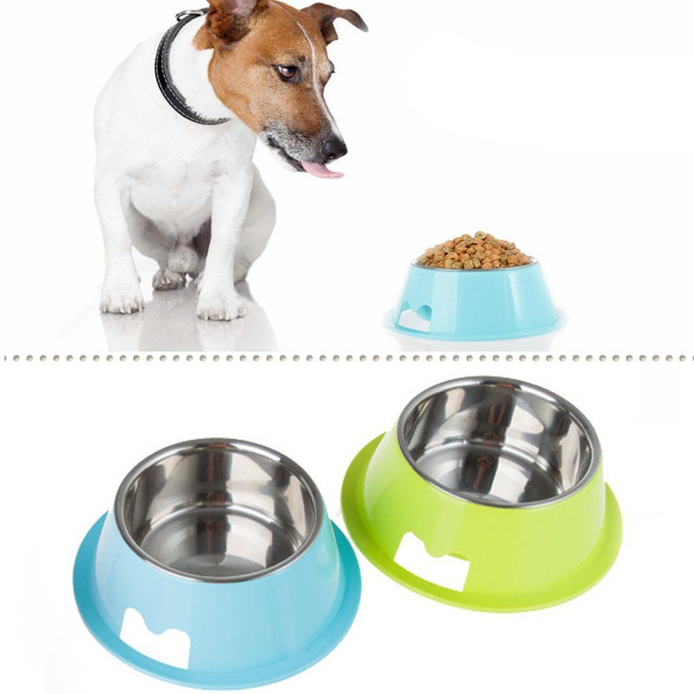 Romiky Plastic And Stainless Steel Puppy Cat Dog Food Drink Water