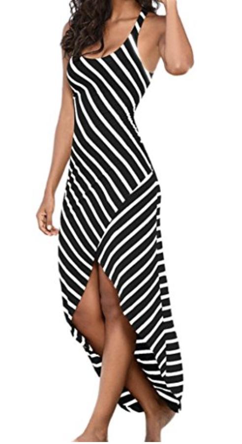 fa75f29117 Women Dress Striped Long Sunday77 Women Dress Valentine's Day Boho Dress  Lady Beach Summer Sundrss Maxi Dress Plus Size Sleeveless Ankle-Length Beach  ...
