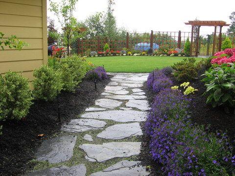 slate walkway slate patiowalkway wide joints for moss and woolly thyme slate - Patio Walkway Ideas