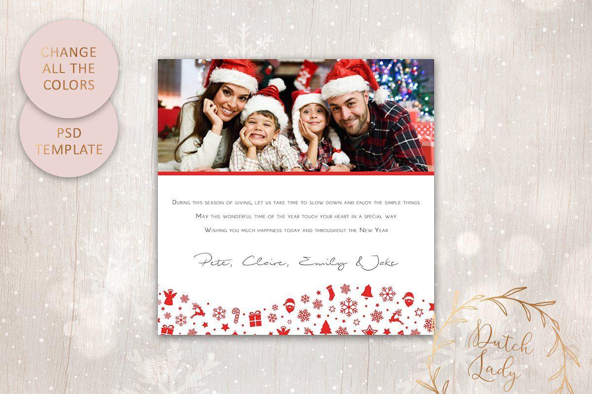 Psd Christmas Card Template 7 Photo Card Template Christmas Card Template Card Template