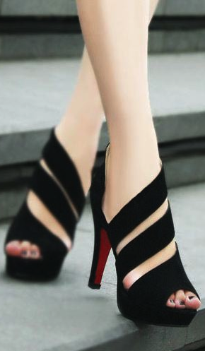 7feecaf83daa New Stylish Handmade Black Straps High Heel Sandals