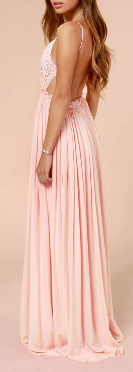 Baby pink maxi prom dress