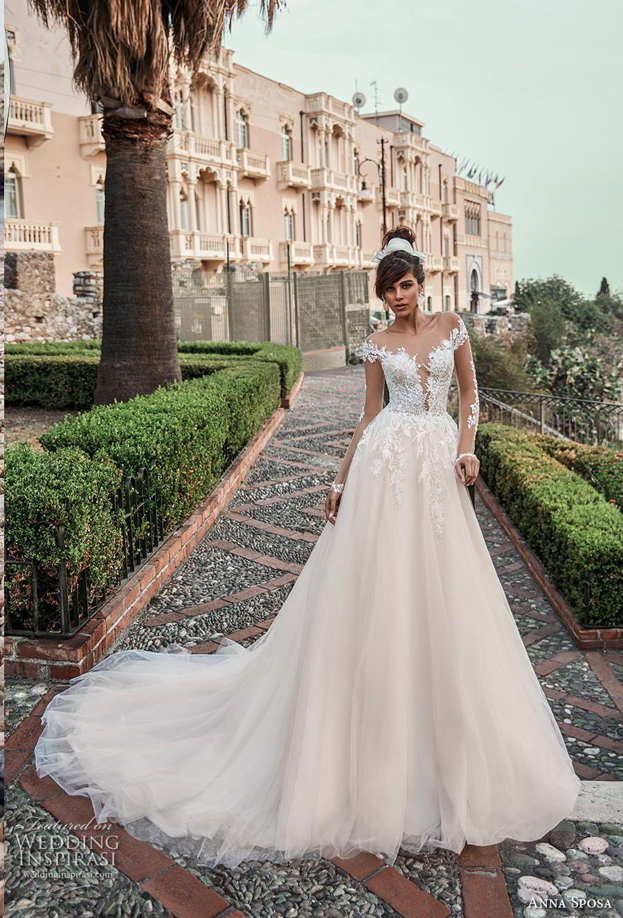 26bfb543547b anna sposa 2019 bridal long sheer sleeves sheer boat deep plunging  sweetheart neckline heavily embellished bodice