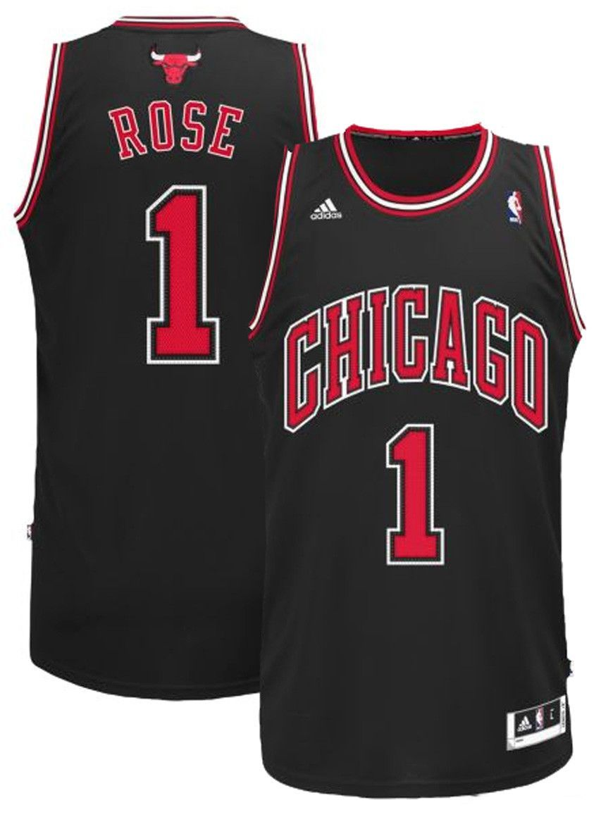 05c90791ecb Adidas NBA CHICAGO BULLS Derrick Rose Mens Alt Black Swingman Jersey ...