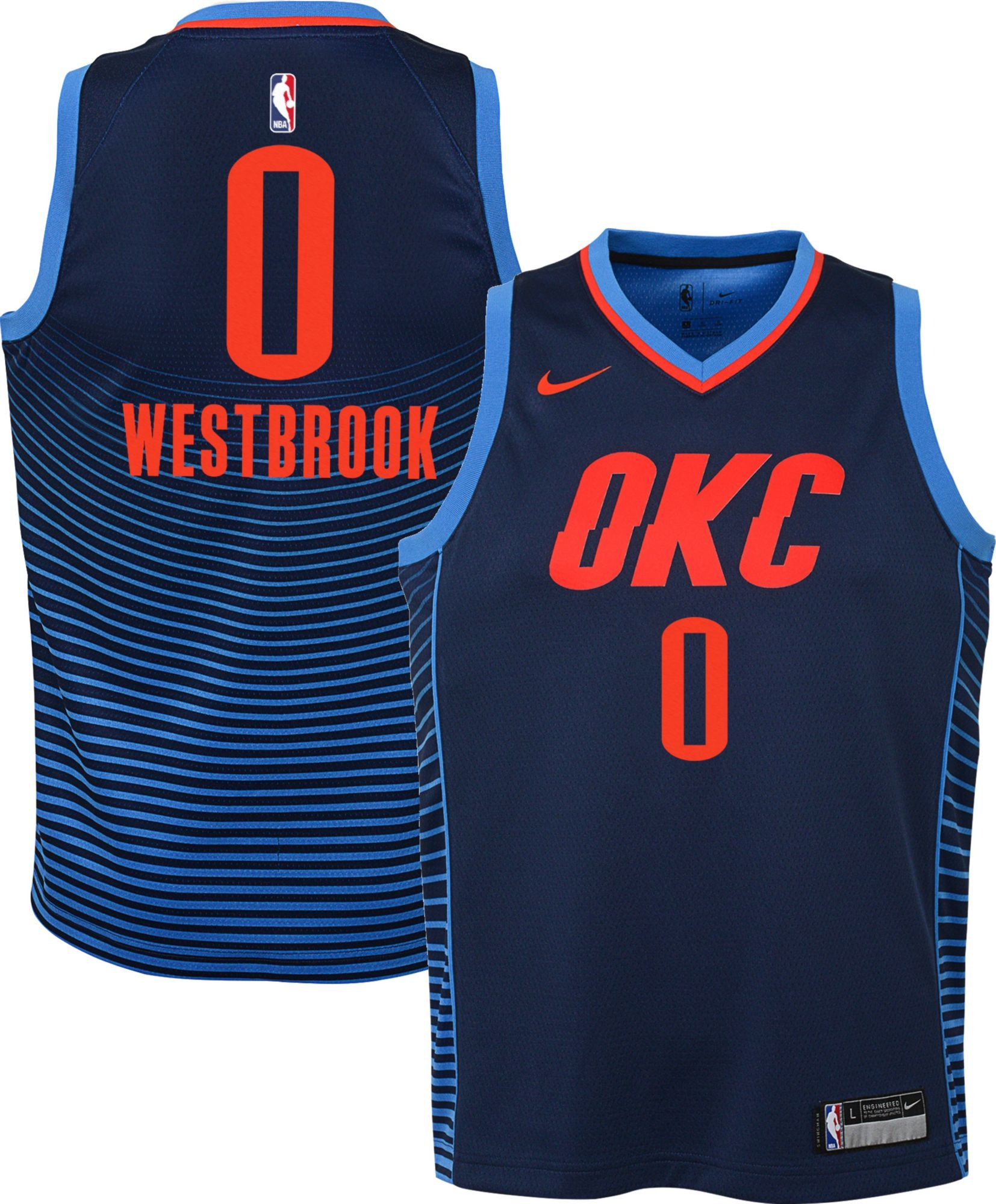 cd65b95280d Nike Youth Oklahoma City Thunder Russell Westbrook #0 Navy Statement  Dri-FIT Swingman Jersey, Size: Large, Multi