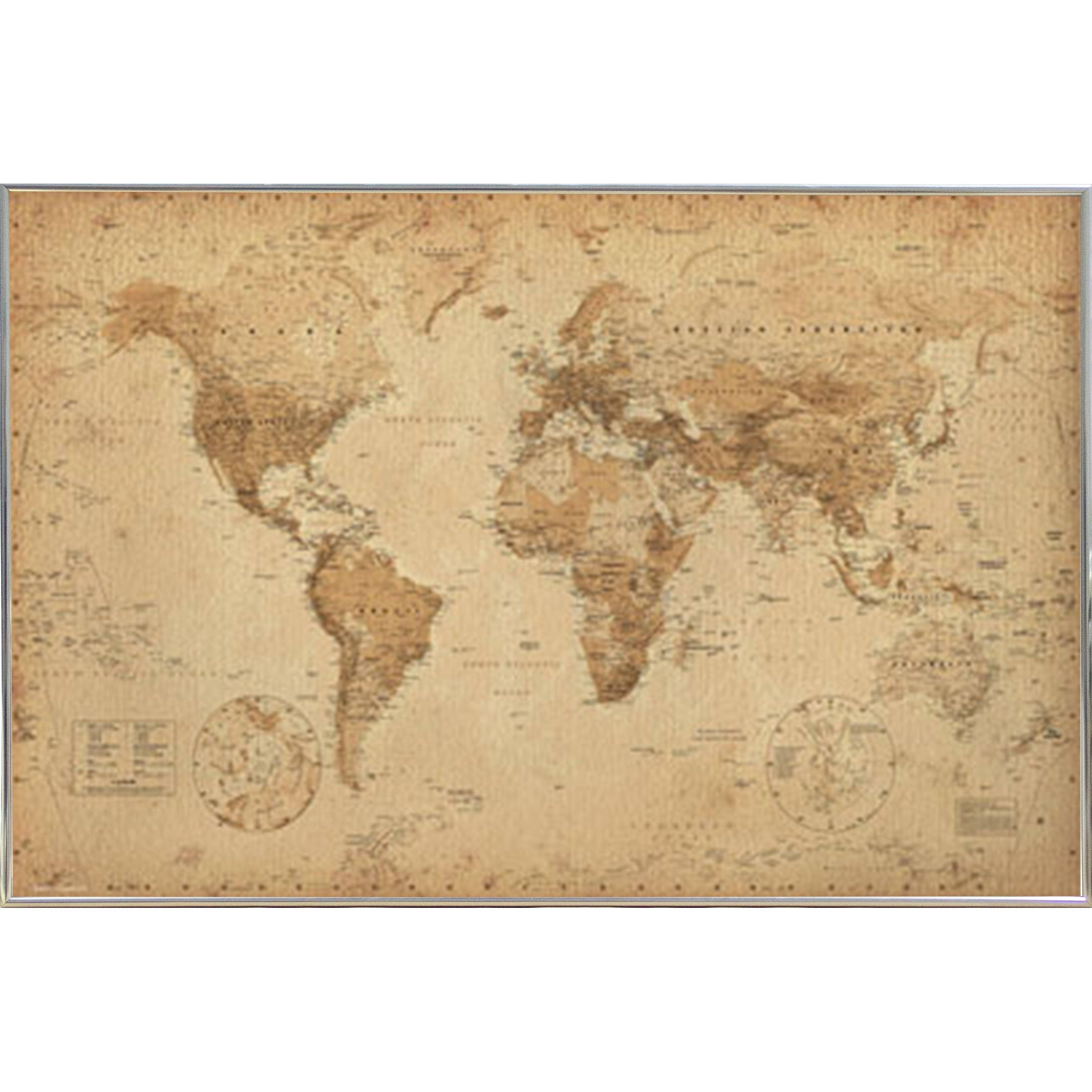 World map antique with choice of frame products pinterest world map antique style framed maxi poster sciox Gallery