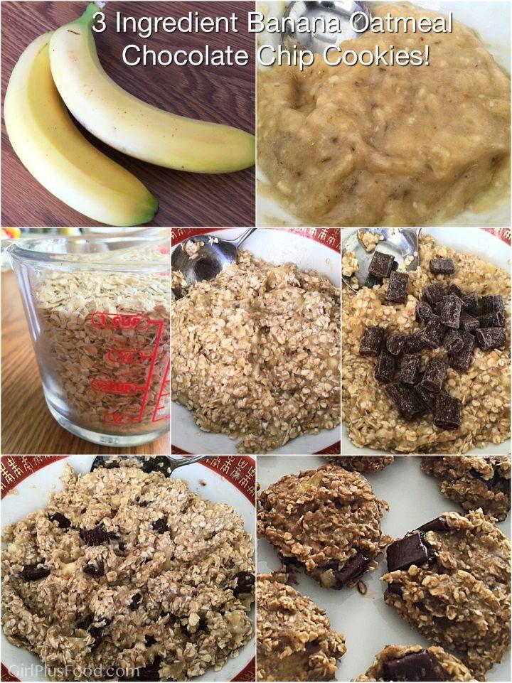 Three Ingredient Banana Oatmeal Chocolate Chip Cookies!