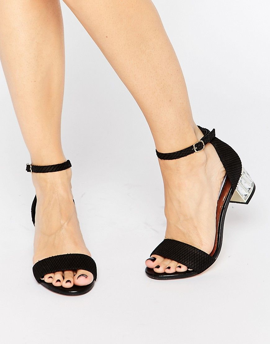 Dune Black & Crystal Evening Sandals Shoes Heels