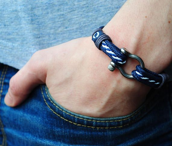 Mens Paracord New Blue and White Anchor Cord Rope Bracelet Nautical Silver