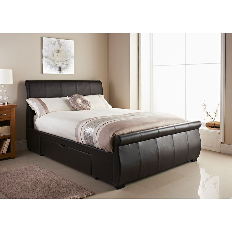 Brown faux leather double bed Home