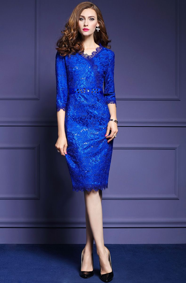 2017 Autumn Women Cross V Neck Lace Dress Elegant Sequin Blue ...