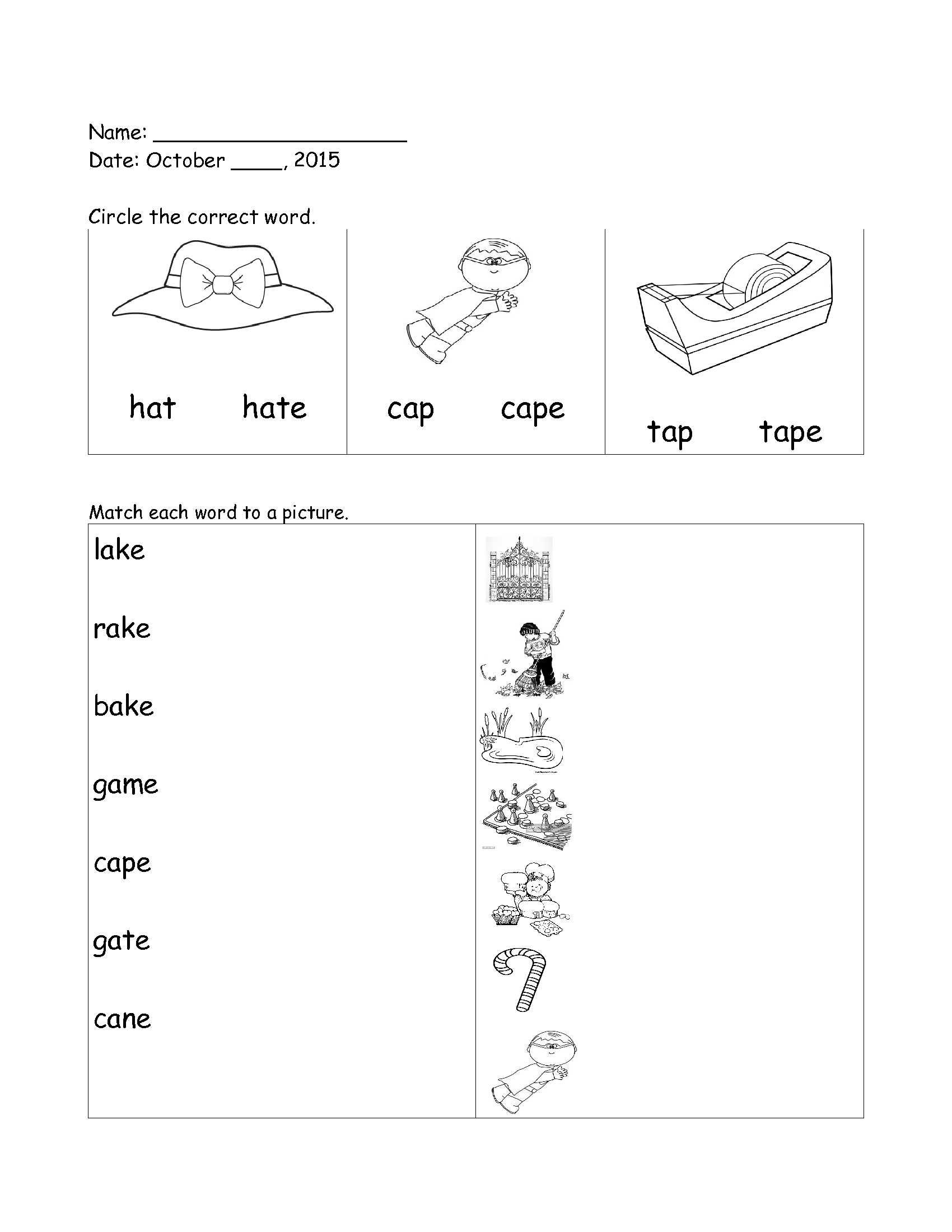 English Worksheet Grade 1 Long Vowels Long A For Full