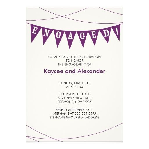 Purple Banner Engagement Invitations Modern Engagement Party - online engagement invitation cards free