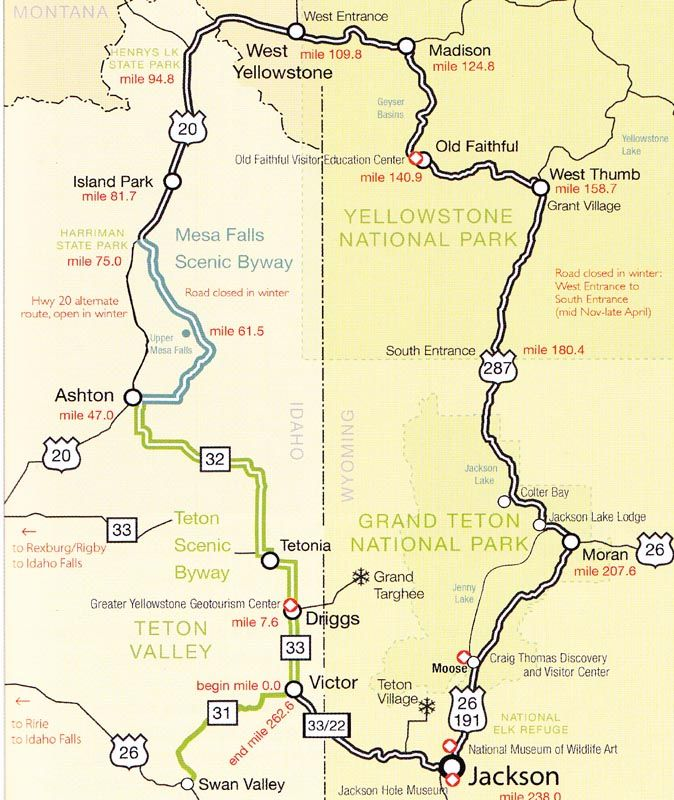 teton scenic byway idaho The YellowstoneGrand Teton Loop starts