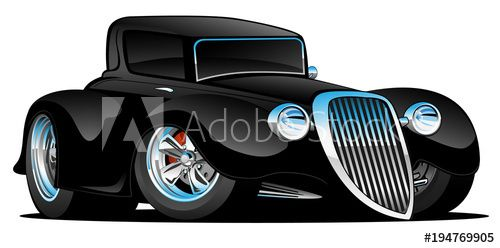 Black Hot Rod Classic Coupe Custom Car Cartoon Vector Illustration – Buy this stock vector and explore similar vectors at Adobe Stock