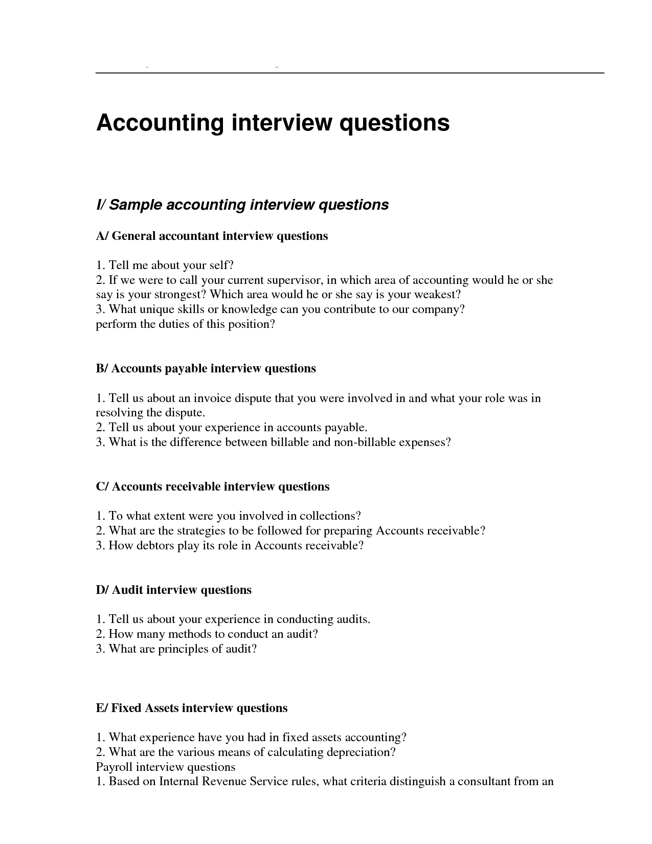 Accountant Interview Questionnaire Sample An Accountant Interview