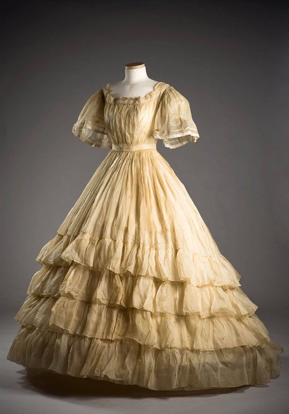 This beautiful tiered, organdy dress was worn by Marianna Howard when she married Benjamin Walter Taylor on Dec. 14, 1865.