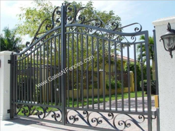 Driveway outdoor aluminum wrought iron gate wrought iron for Aluminum gates for driveways