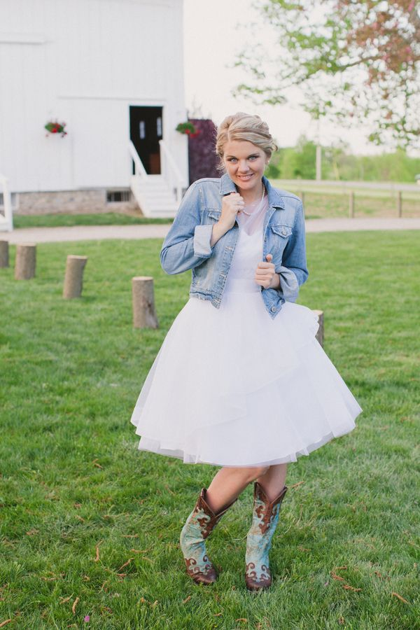 Wedding Dresses With Denim Jackets For Rustic Wedding Theme