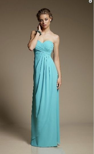 Chiffon long sweetheart strapless (in white colour)