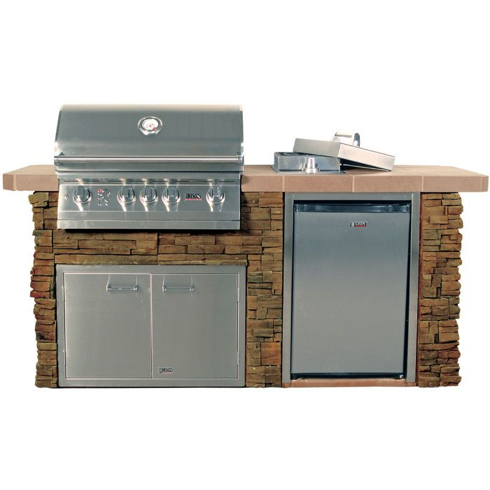Advanced Q Rock 4 Burner Built In Gas Grill With Side Shelves