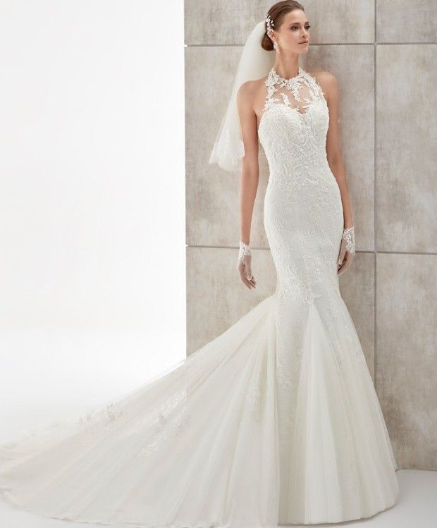 Espectacular vestido de novia de encaje en pedrería blanco, con ...