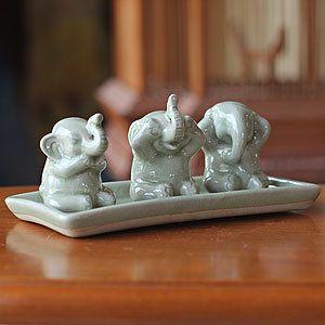 Novica Elephant Life Lessons Celadon Ceramic Figurine Set