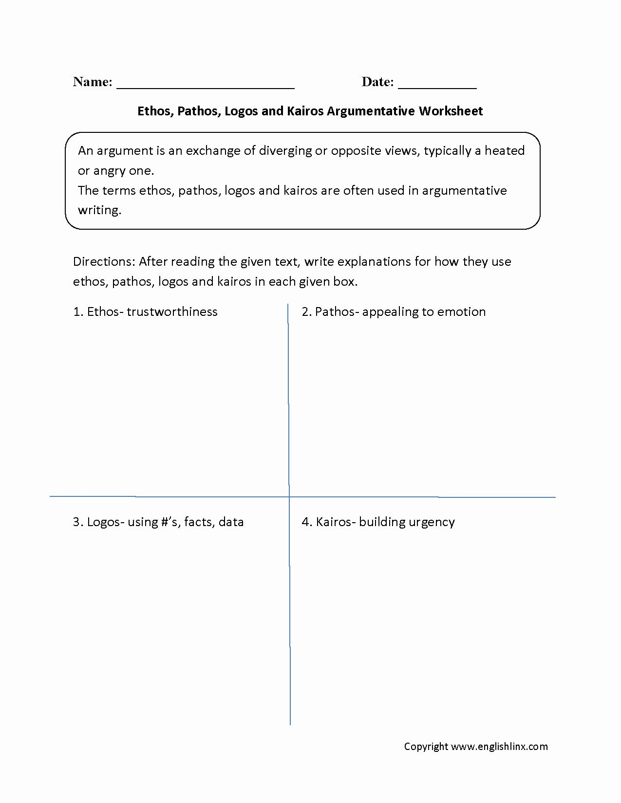 Ethos Pathos Logos Worksheet Answers