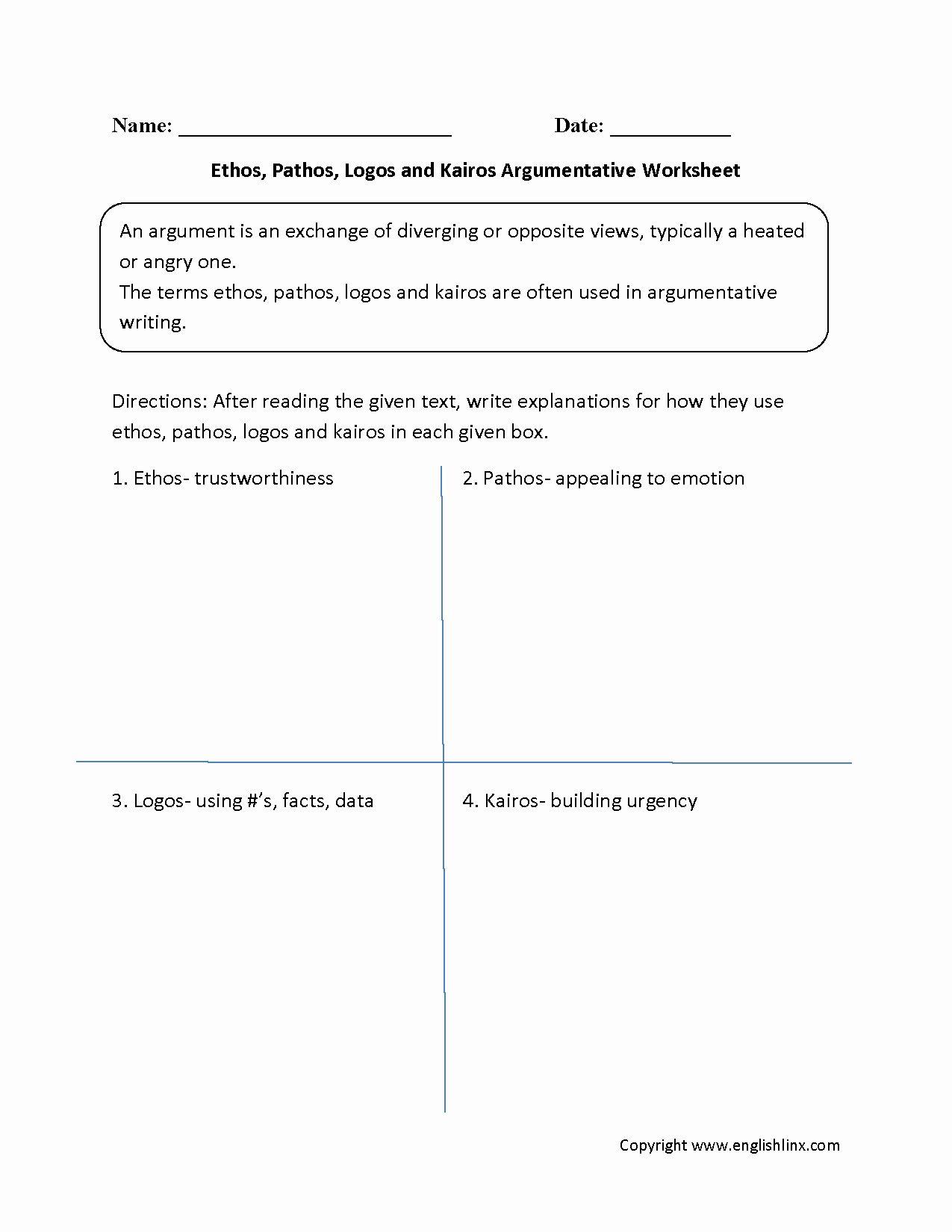 Ethos Pathos Logos Worksheet Answers