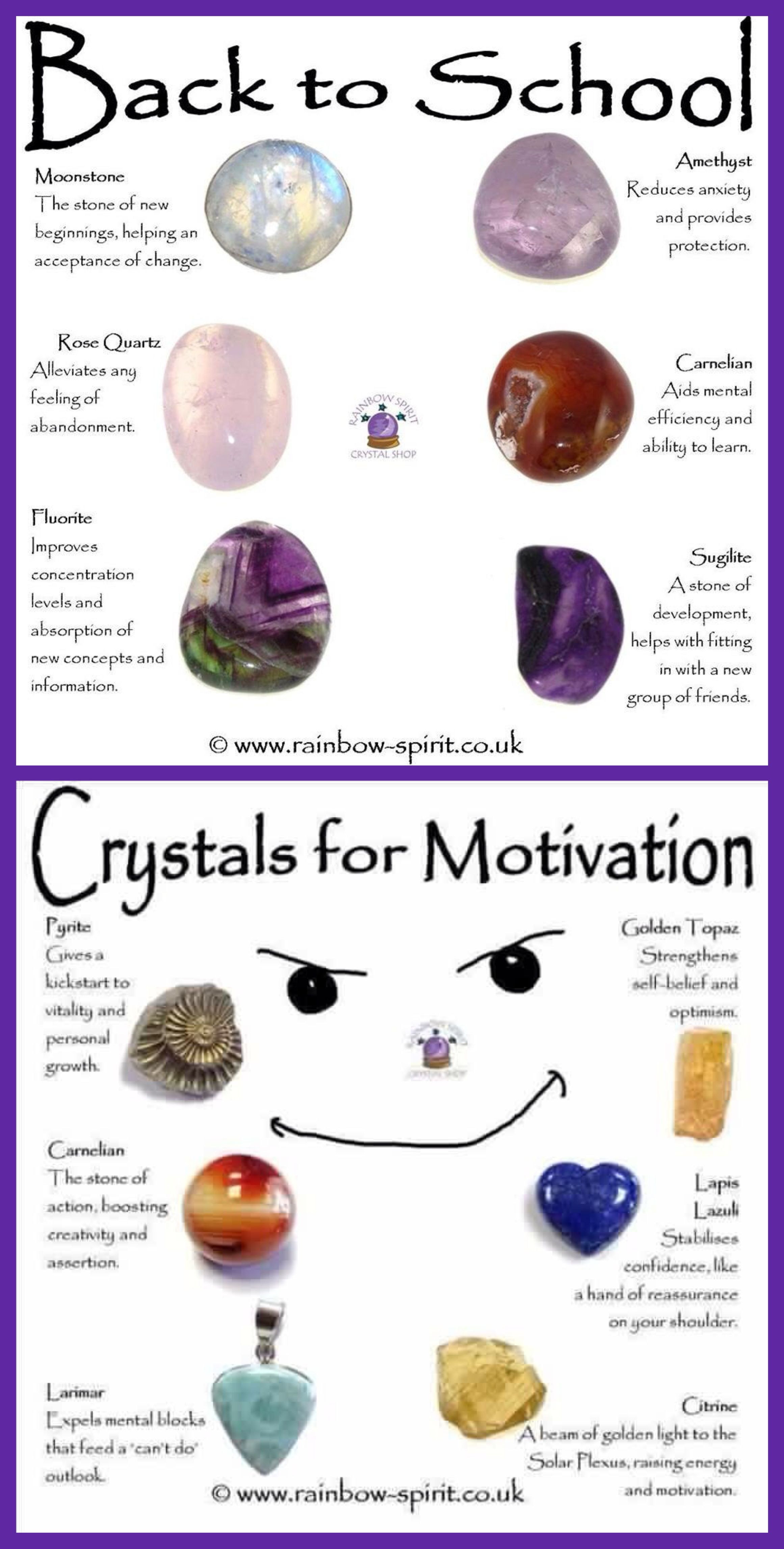 Back to school and motivation crystals with images