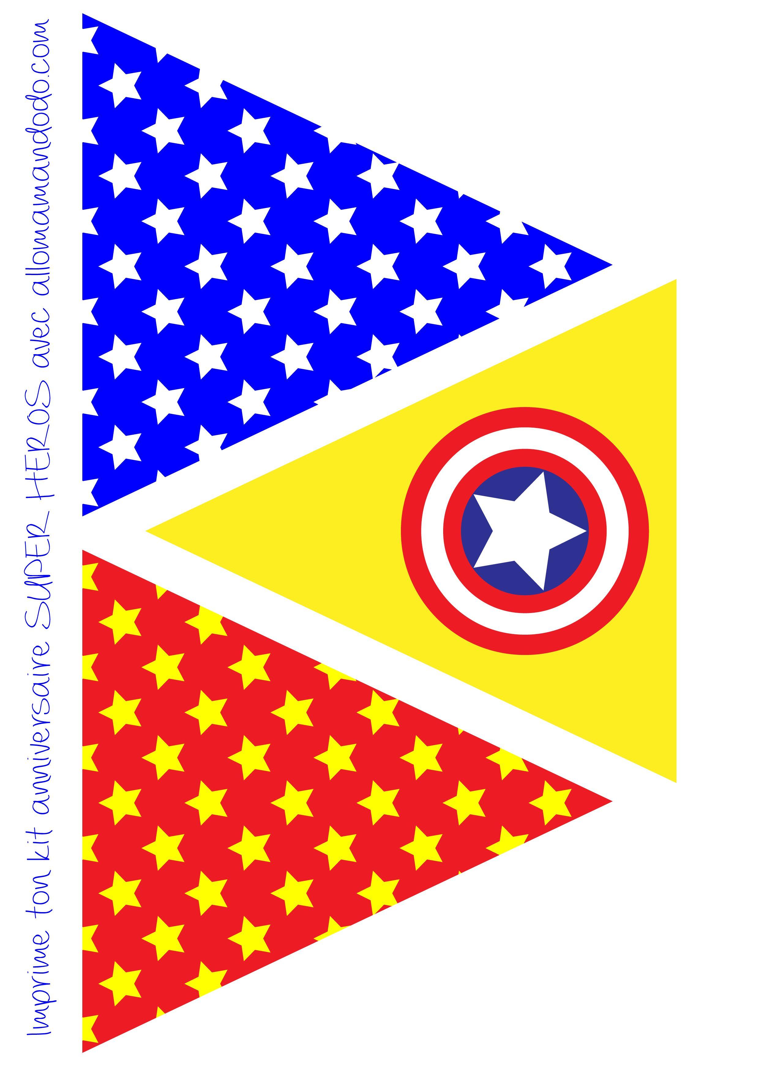 Idee anniversaire enfant · décoration anniversaire super héros fanion imprimer