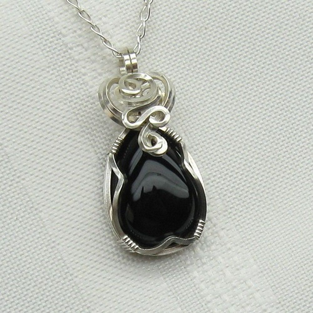 Black onyx necklace black onyx jewelry wire wrapped sterling black onyx necklace black onyx jewelry wire wrapped sterling silver onyx pendant aloadofball
