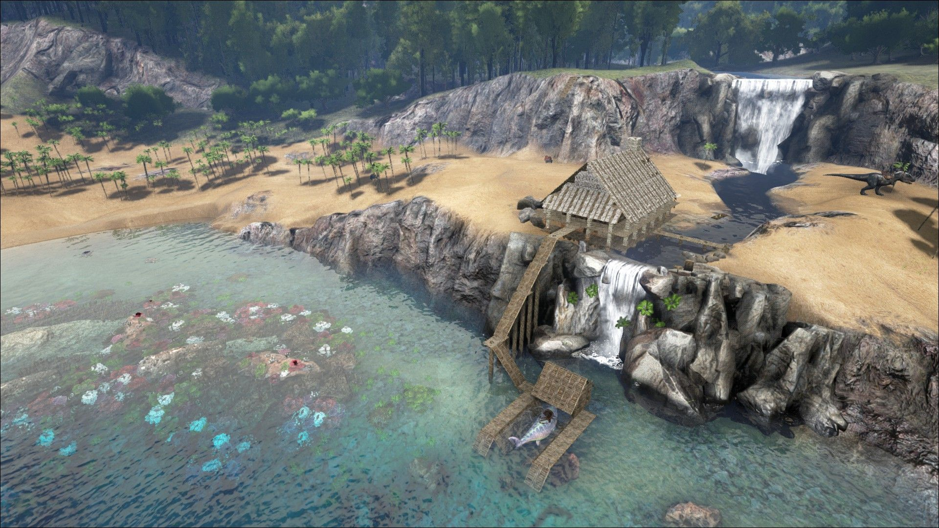 Ark Survival House On Waterfall   Google Search
