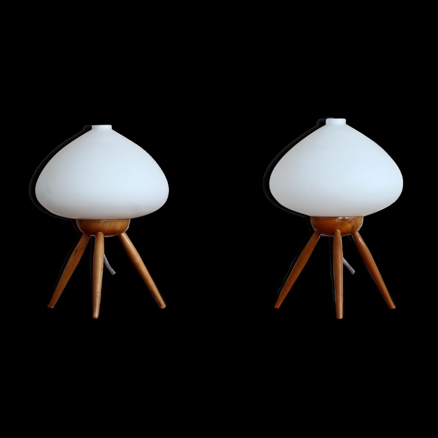 Set Of 2 Table Lamps By Uluv Space Age 1960s Lampes De Table Blanc Et Vendanges