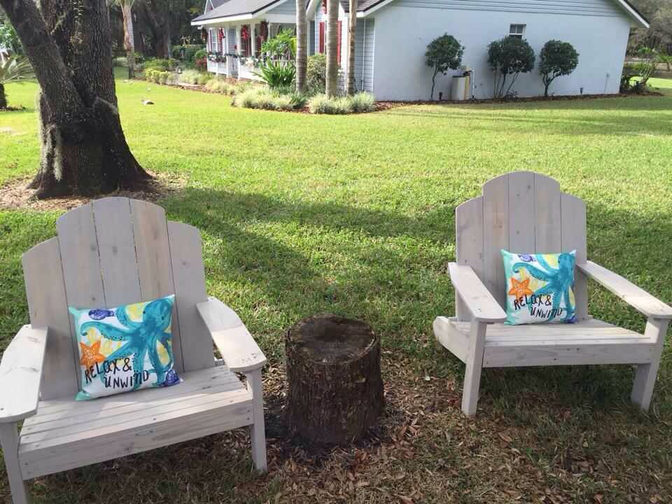 Custom Extra Large Adirondack Chairs Stained In Driftwood Gray
