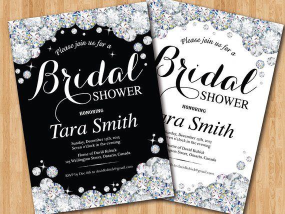 Bridal Shower Invitation Black And White Bling Glam Glitter Diamond Invite Sparkle