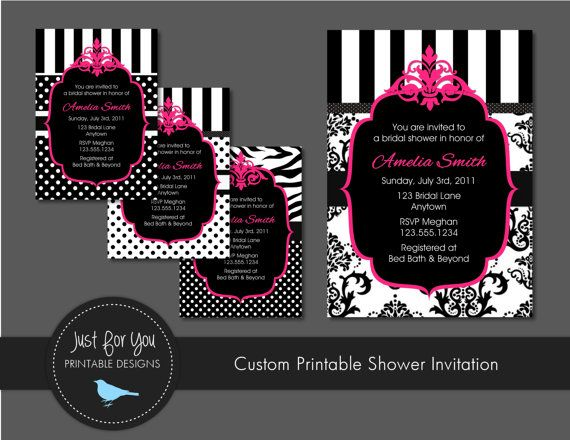 Wedding bridal baby shower invitation vintage victorian damask wedding bridal baby shower invitation damask polka dot stripes black and white hot pink just for you printable designs 4uprintabledesigns on filmwisefo
