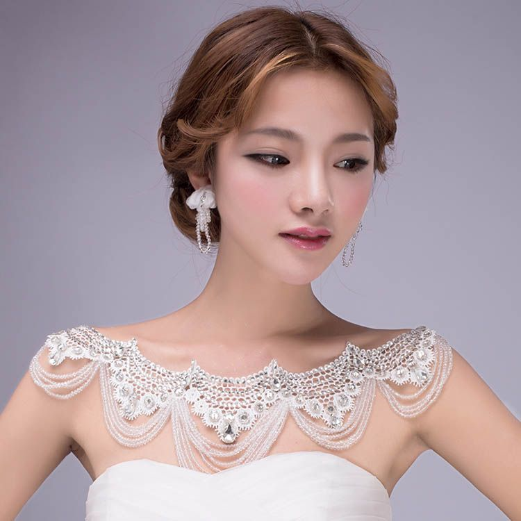 Beaded And Rhinestone Body Chain Statement Bridal Shoulder Necklace Wedding Jewelry