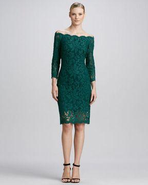 Tadashi Shoji Off-the-Shoulder Lace Cocktail Dress, Cedar on shopstyle.com