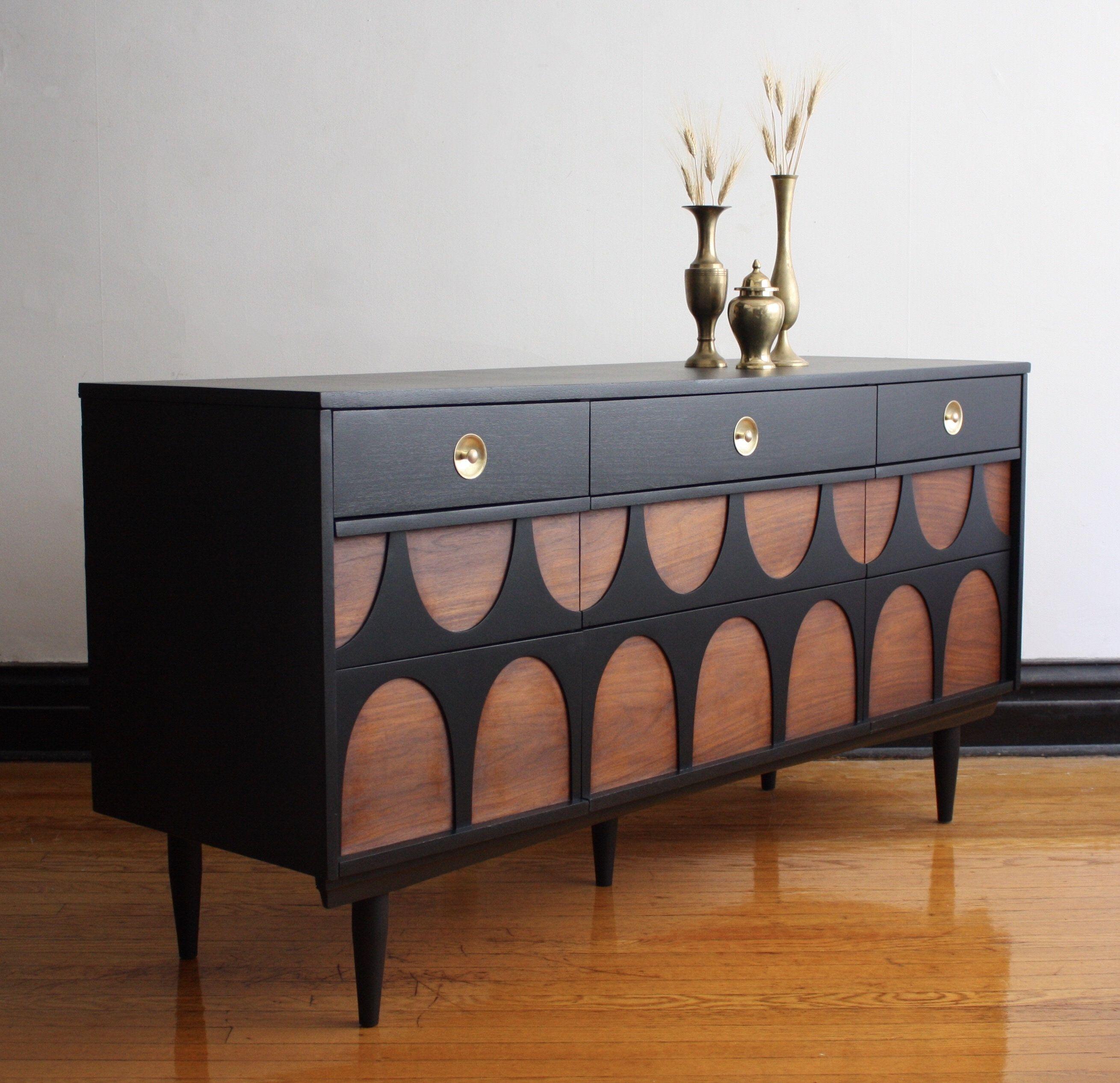 Best Sold Black And Walnut Mid Century Modern Credenza 400 x 300