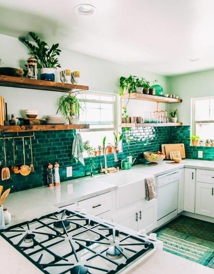 Décoration Murale Pour Cuisine Nos Idées Pour Un Style Pimenté - Carrelage mural cuisine vert pour idees de deco de cuisine