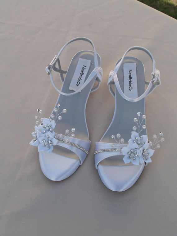 Wedding Shoes Low Wedge 1 Inch Heel Flowers Crystals Short Heel White Satin Open Toe Bridal Sandal Bling White Flowers Old Hollywood Deco In 2020 Bridal Sandals Wedge Wedding Shoes Wedding Shoes Low Heel