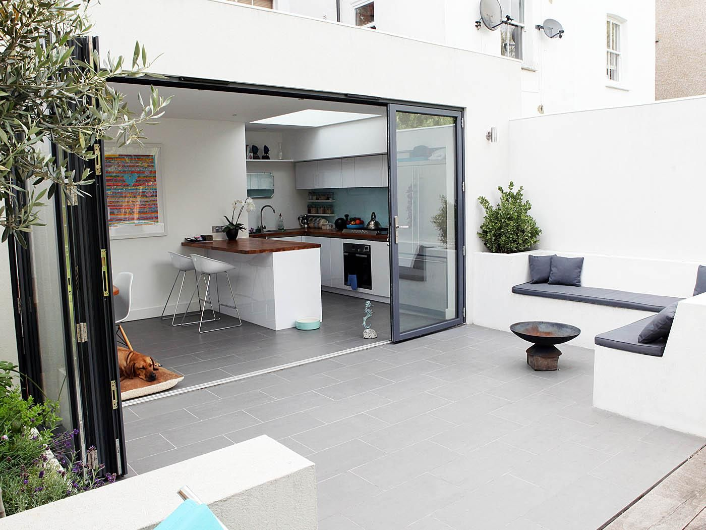 70mm thermally broken aluminium house extensions for Sliding glass doors extension