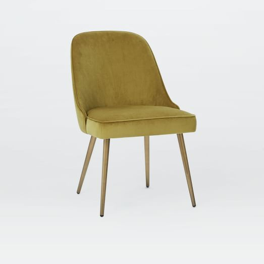 For Kitchen Dining Love The Gold Mid Century Upholstered Dining Chair V Mid Century Upholstered Dining Chair Upholstered Dining Chairs Metal Dining Chairs