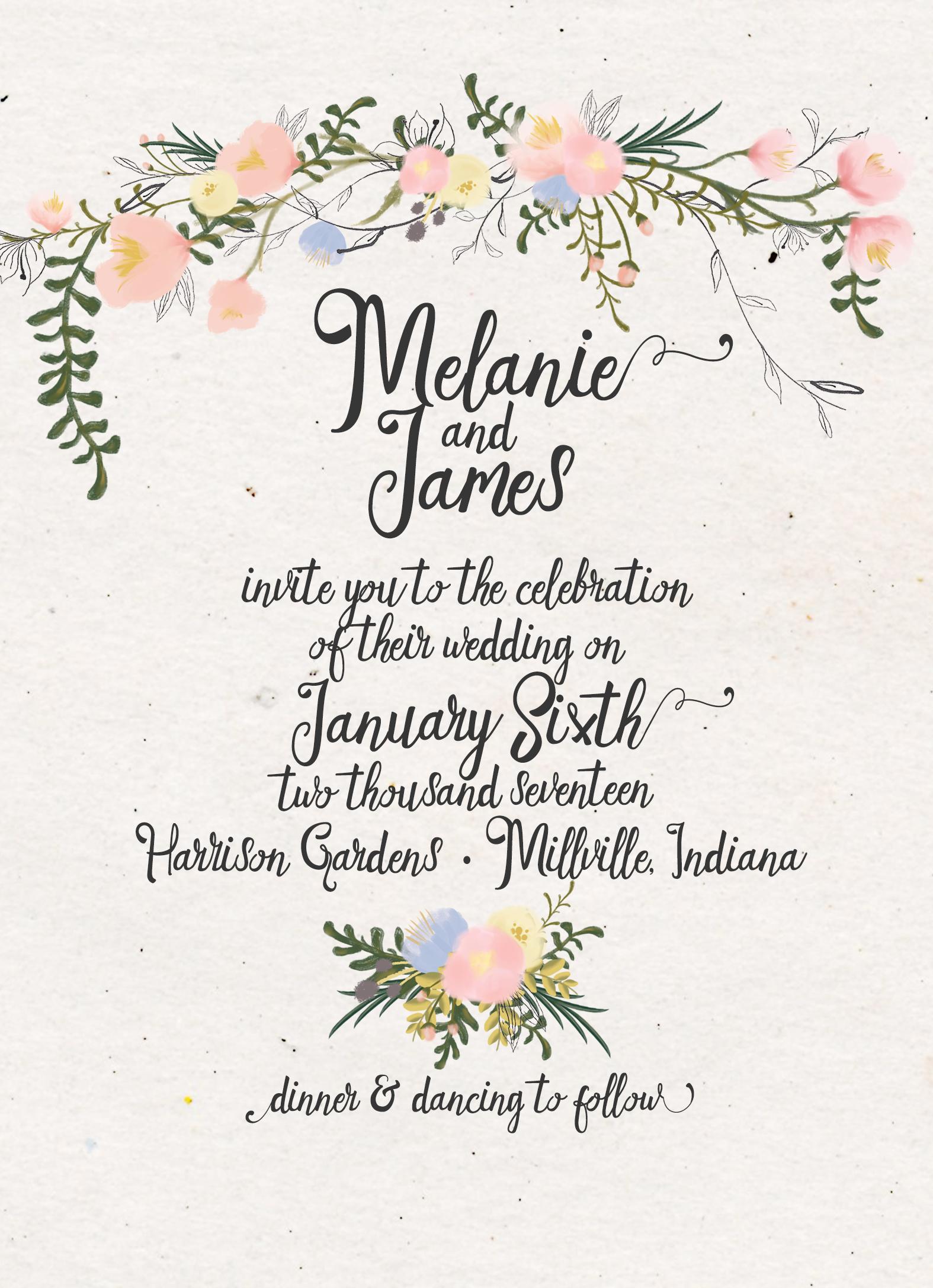 Garden Wedding Invitation Suite DEPOSIT, DIY, Rustic, Boho ...