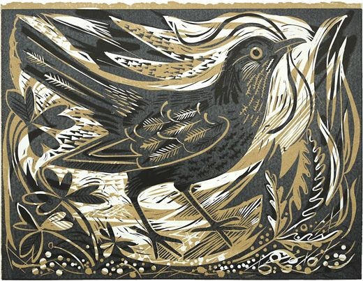 a new two colour linocut by Mark Hearld, 'Ballindalloch Blackbird'.