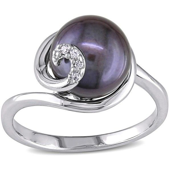 Miadora Sterling Silver Black FW Pearl Ring (88 CAD) ❤ liked on Polyvore featuring jewelry, rings, purple, black silver jewelry, pearl jewellery, black silver rings, black and silver jewelry and band jewelry