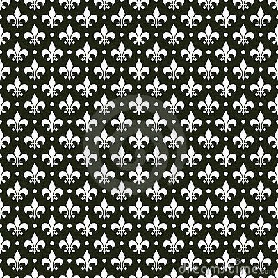 Black White Vector French Fleur De Lis Pattern