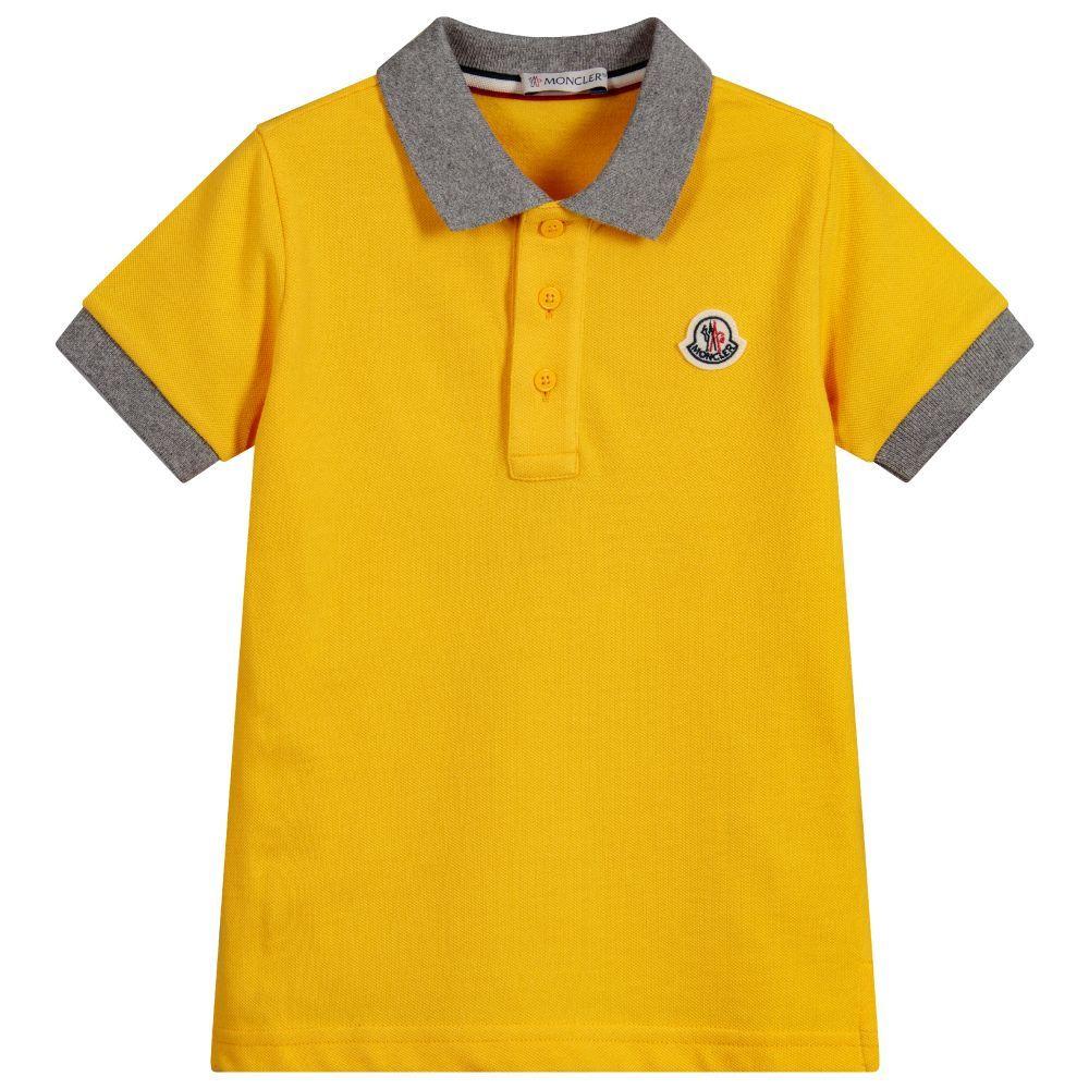 Moncler Boys Yellow Cotton Pique Polo Top Kids Moncler T