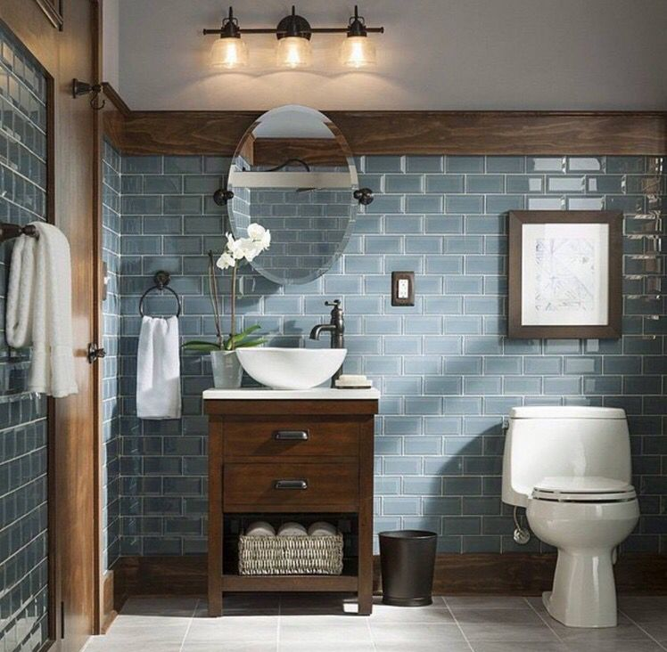 Blue And Brown Rustic Country Toilet Room Bathroom Remodel